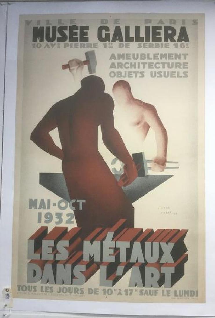 LES METAUX DANS L'ART FRENCH POSTER, 1932, LINEN