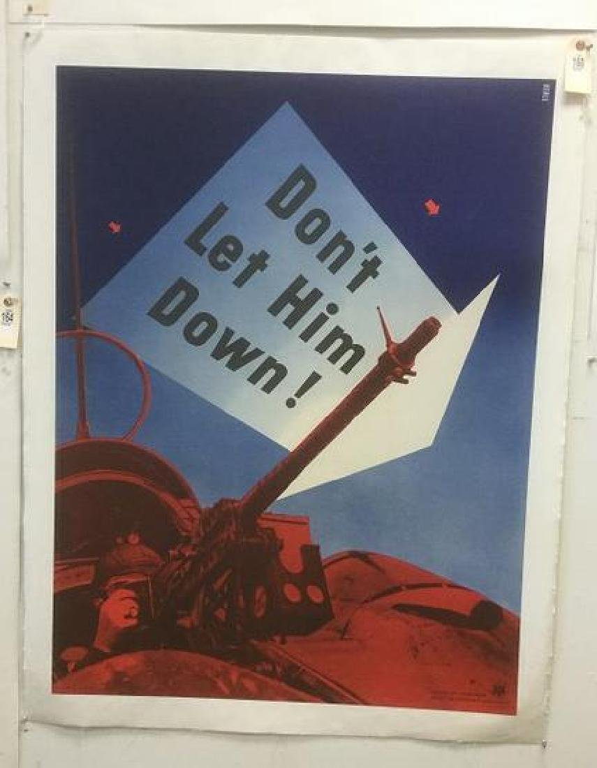 WWII DON'T LET HIM DOWN POSTER, 1942, LINEN BACKED,