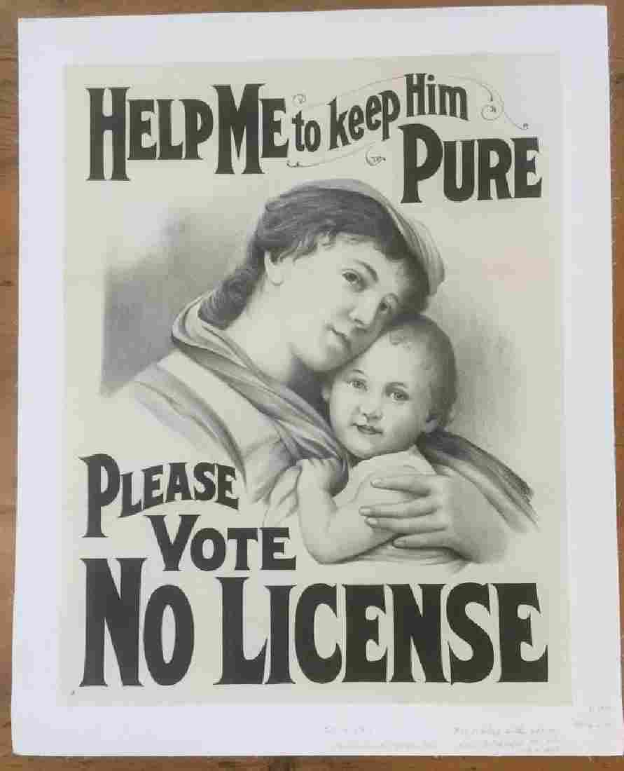 TEMPERANCE/PROHIBITION POSTER, C. 1910, LINEN BACKED,