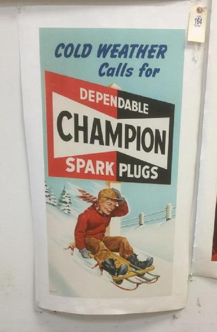 CHAMPION SPARK PLUG POSTER, C. 1940, LINEN BACKED, COLD