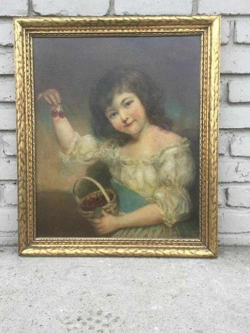 PORTRAIT OF YOUNG GIRL HOLDING BASKET OF CHERRIES, O/C