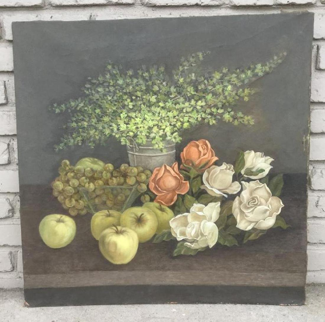 CIRCA 1900 O/C STILL LIFE W/FRUIT & FLOWERS, UNSIGNED,
