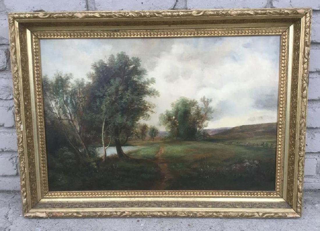 CIRCA 1900 O/C LANDSCAPE, UNSIGNED, IN FRAME OF THE