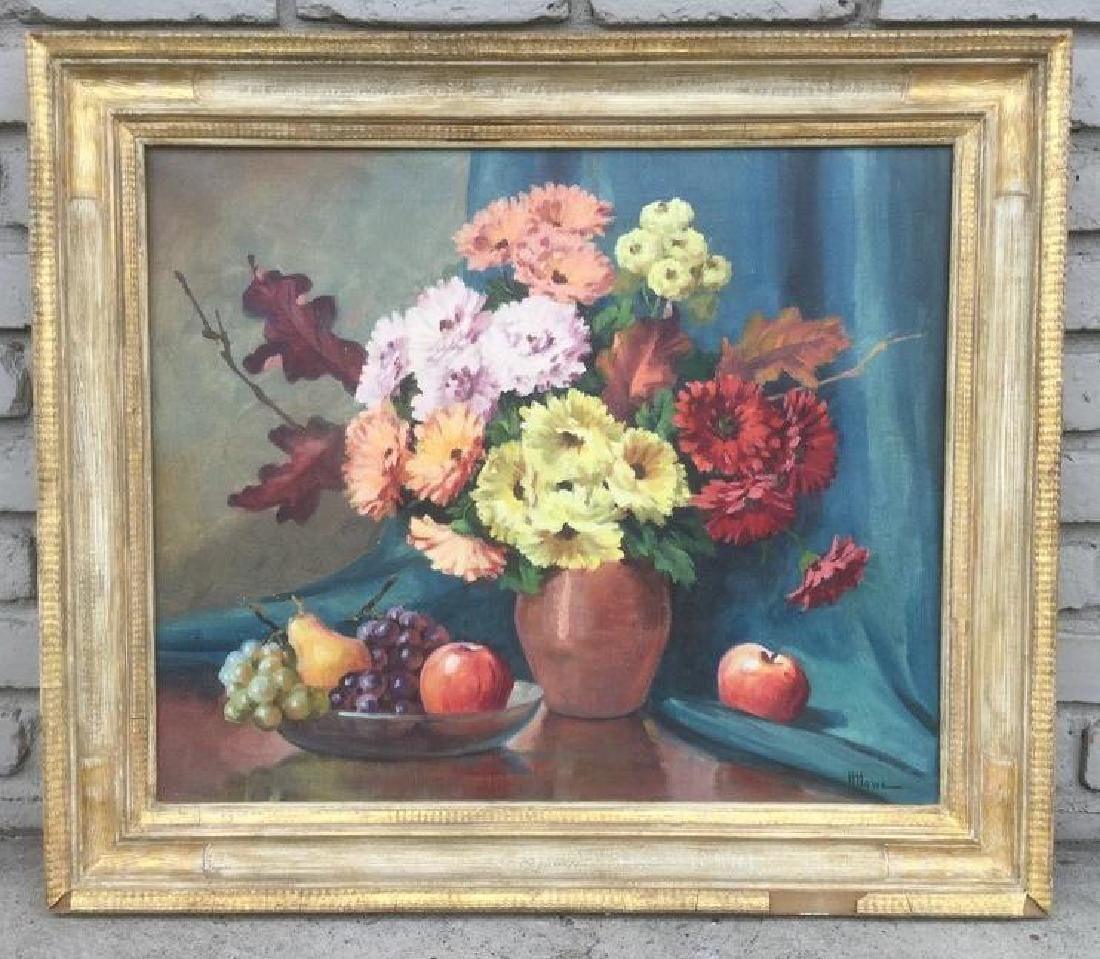 H HOWE O/C STILL LIFE W/FLOWERS AND FRUIT, PAINTED IN