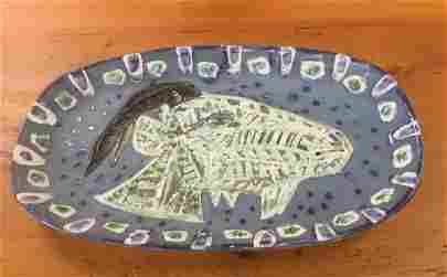 PICASSO CERAMIC OBLONG PLATTER, CIRCA 1952, STAMPED ON