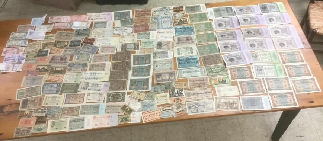 LARGE LOT OLDER FOREIGN CURRENCY, VERY LARGE BILLS TO