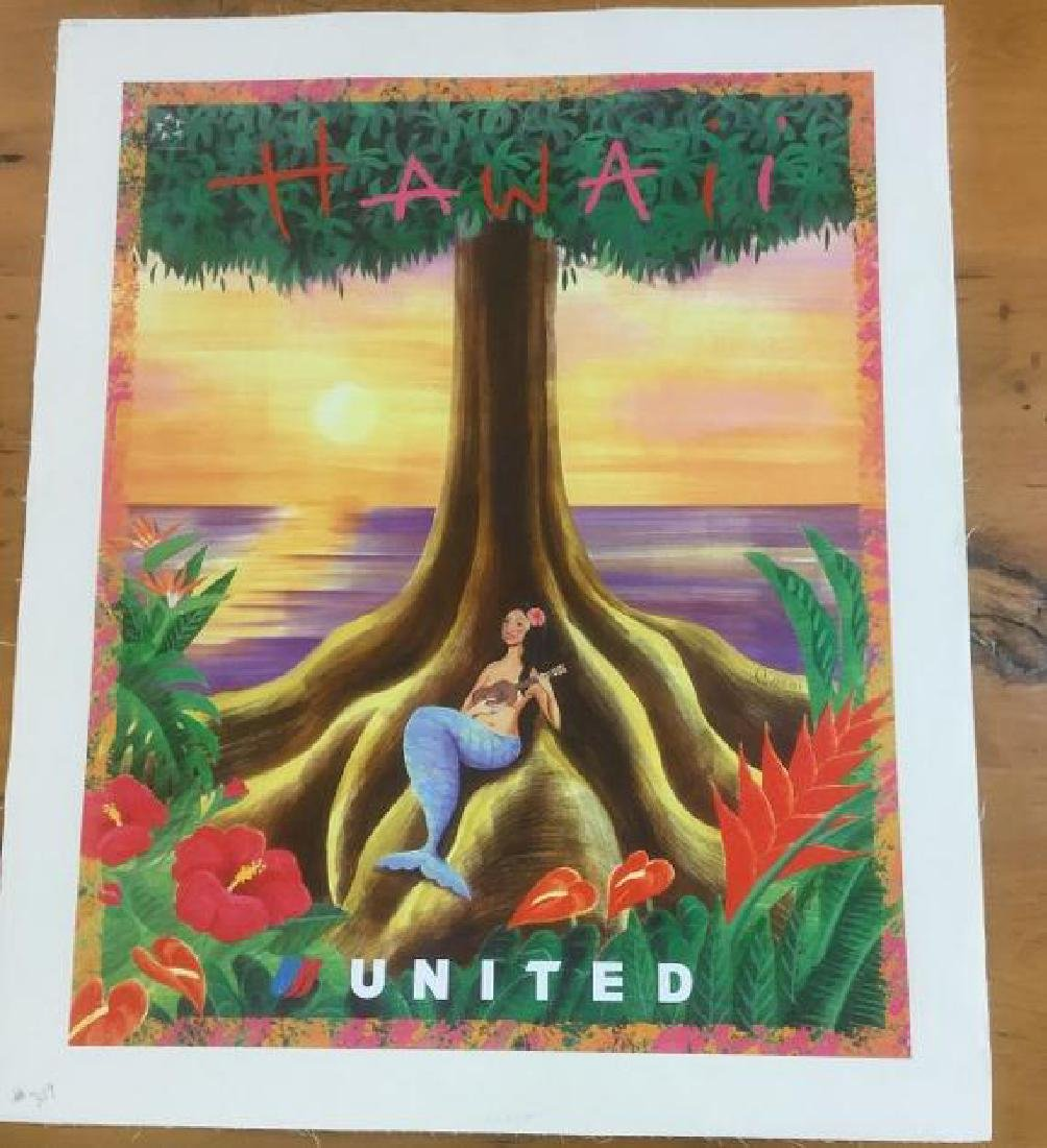 UNITED AIRLINES HAWAII TRAVEL POSTER, LINEN BACKED,