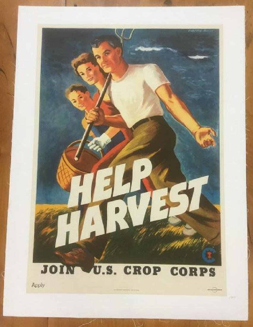 WWII HELP HARVEST POSTER, 1943, LINEN BACKED, JOIN U.S.