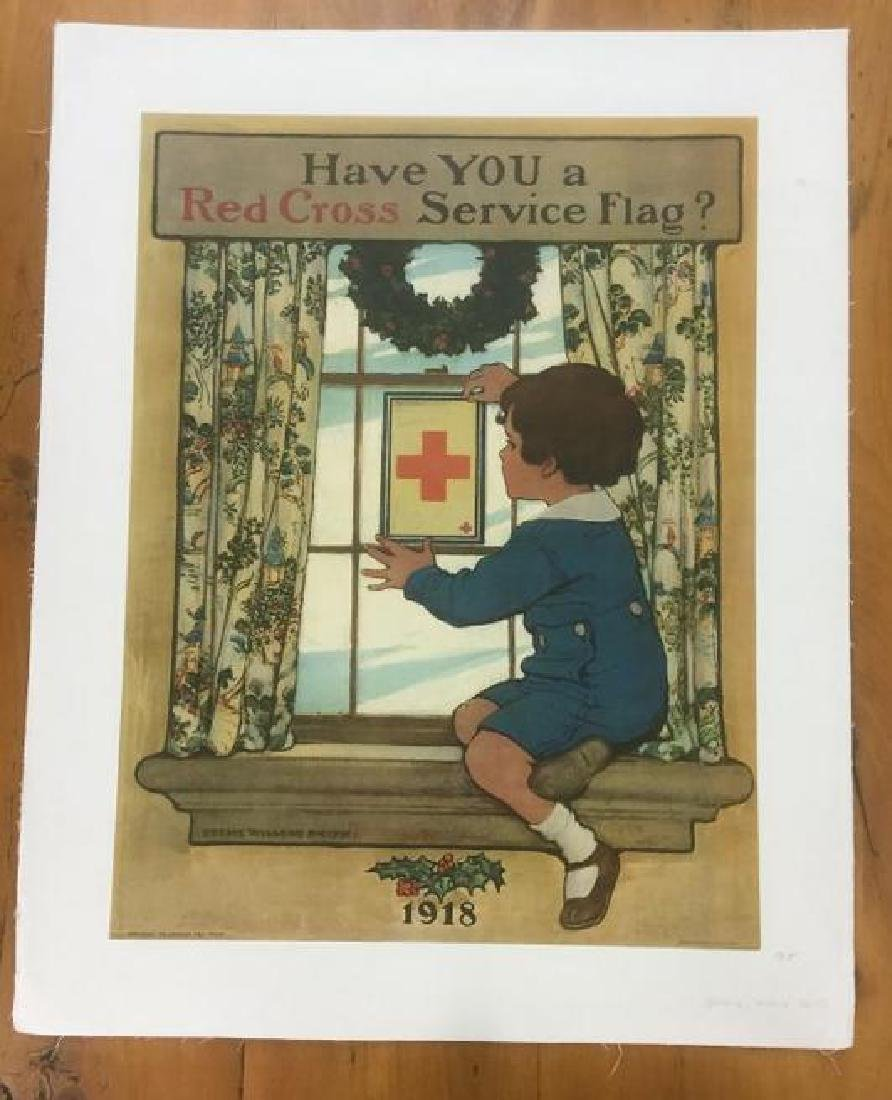 RED CROSS POSTER, 1918, LINEN BACKED, JESSIE WILCOX