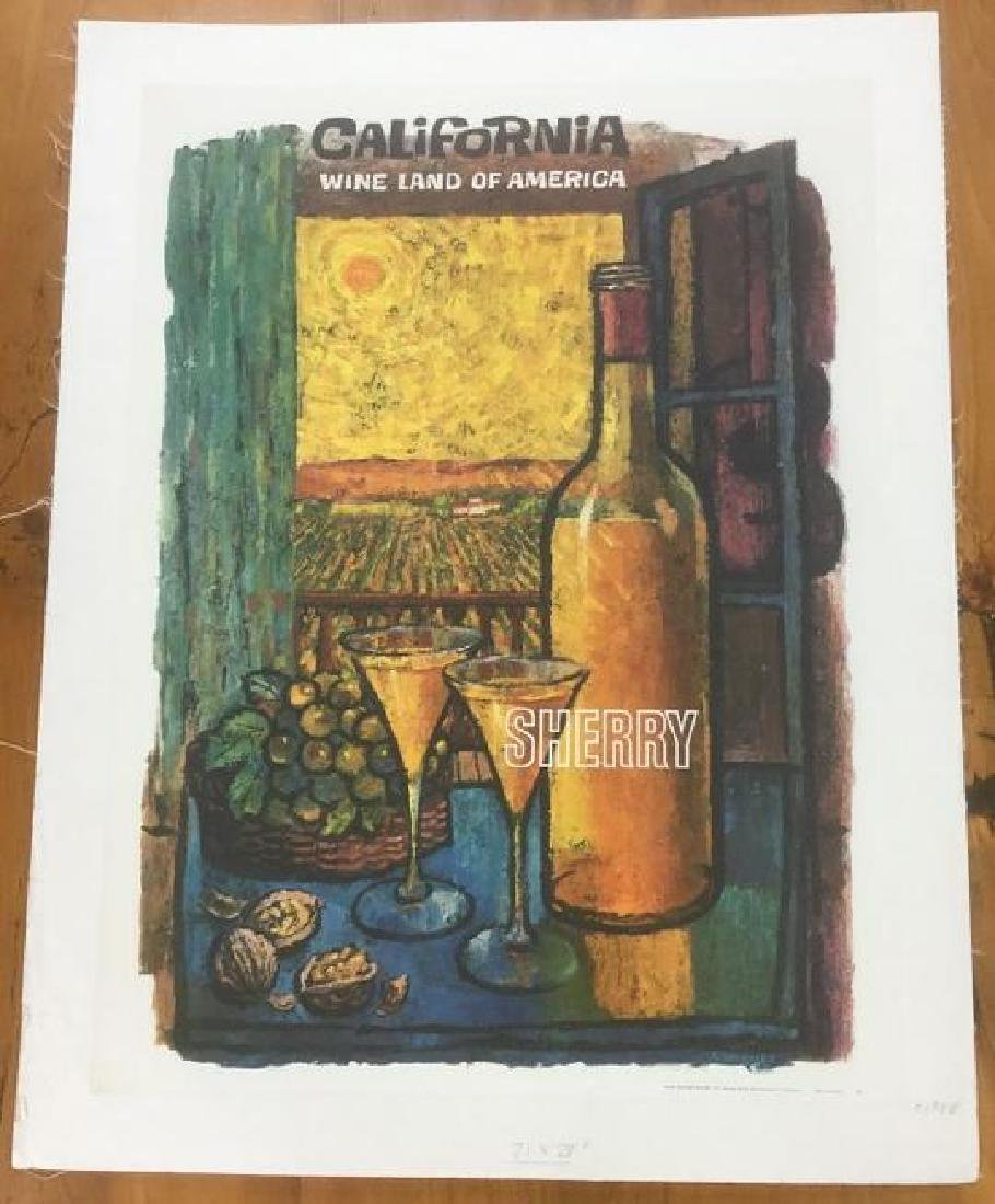 CALIFORNIA WINE POSTER, C.1958, LINEN BACKED,