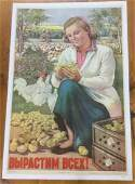FOREIGN CHICKEN POSTER C 1949 LINEN BACKED