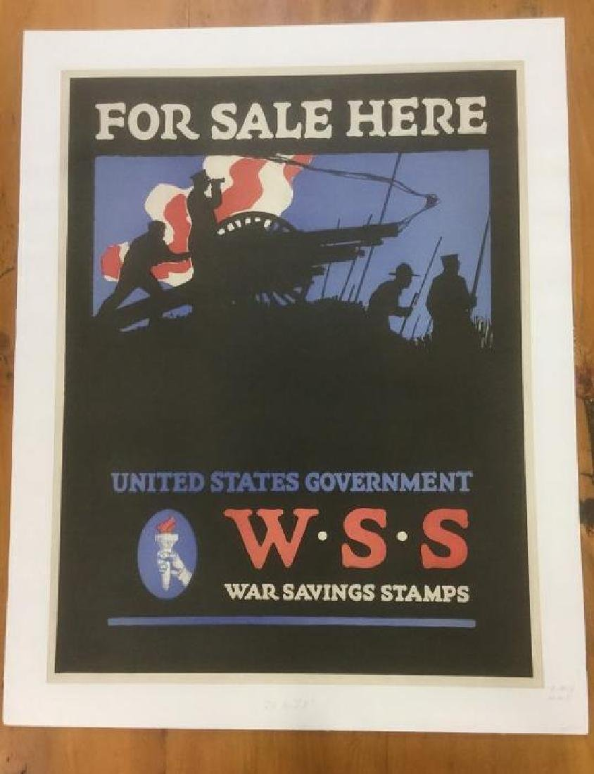 WWI WAR SAVINGS STAMPS POSTER, C. 1917, LINEN BACKED,