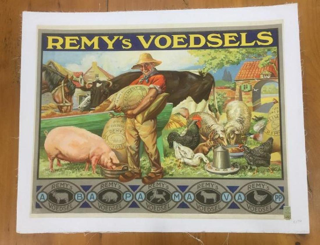 REMY'S VOEDSELS ADVERTISING POSTER, C. 1920, LINEN