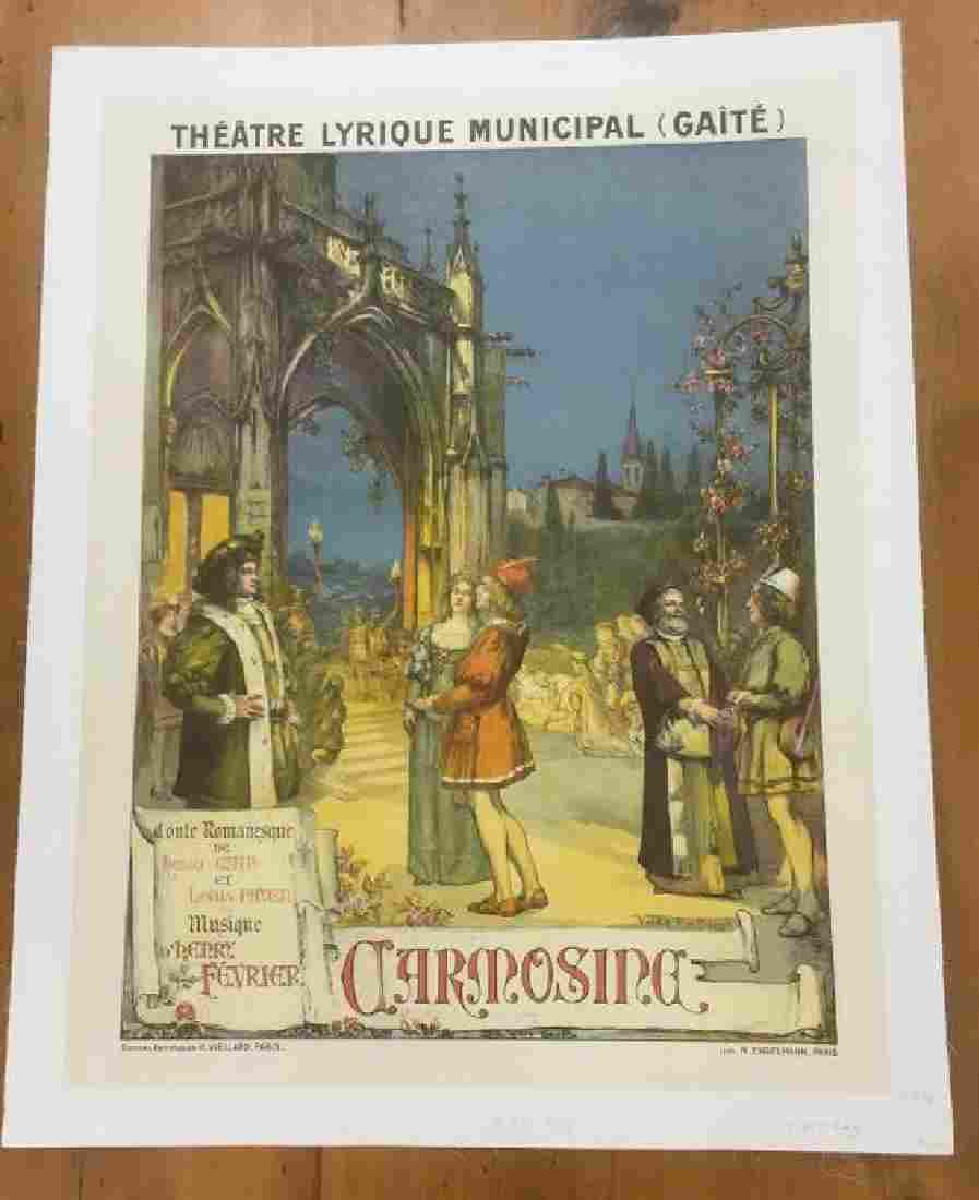 FRENCH THEATER POSTER, C. 1894, LINEN BACKED,