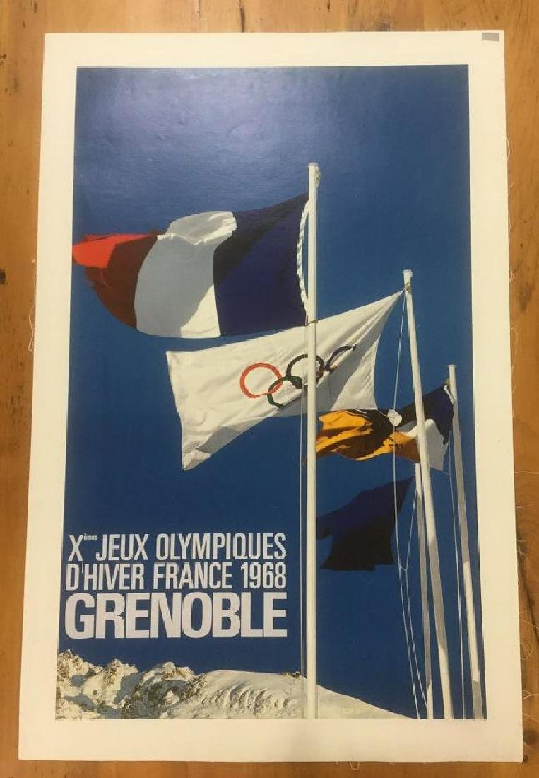 FRENCH OLYMPICS POSTER, 1968, LINEN BACKED, XEMES JEUX
