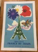 FRENCH NATIONAL RIALROAD POSTER C 1954 LINEN BACKED