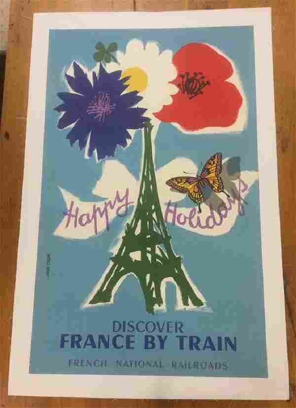 FRENCH NATIONAL RIALROAD POSTER, C. 1954, LINEN BACKED,