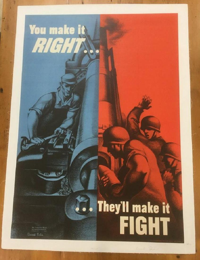 WWII POSTER, 1942, LINEN BACKED, YOU MAKE IT