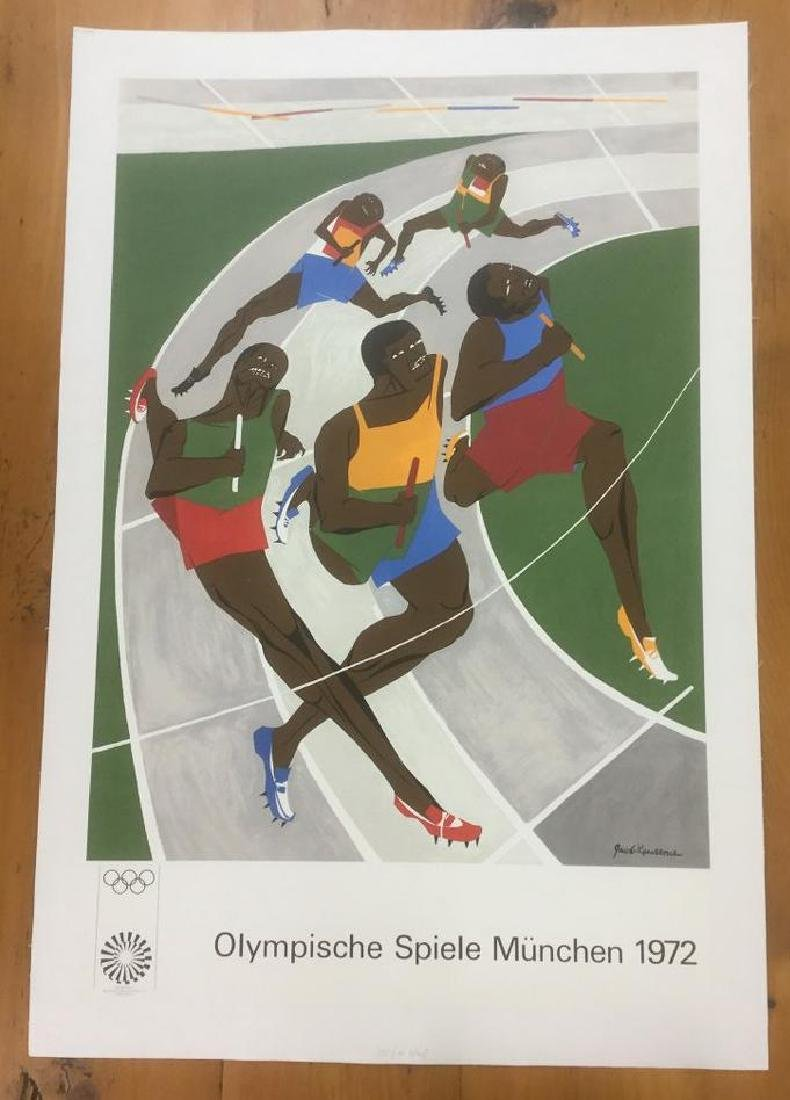 GERMAN OLYMPIC POSTER, 1972, LINEN BACKED, OLYMPISCHE