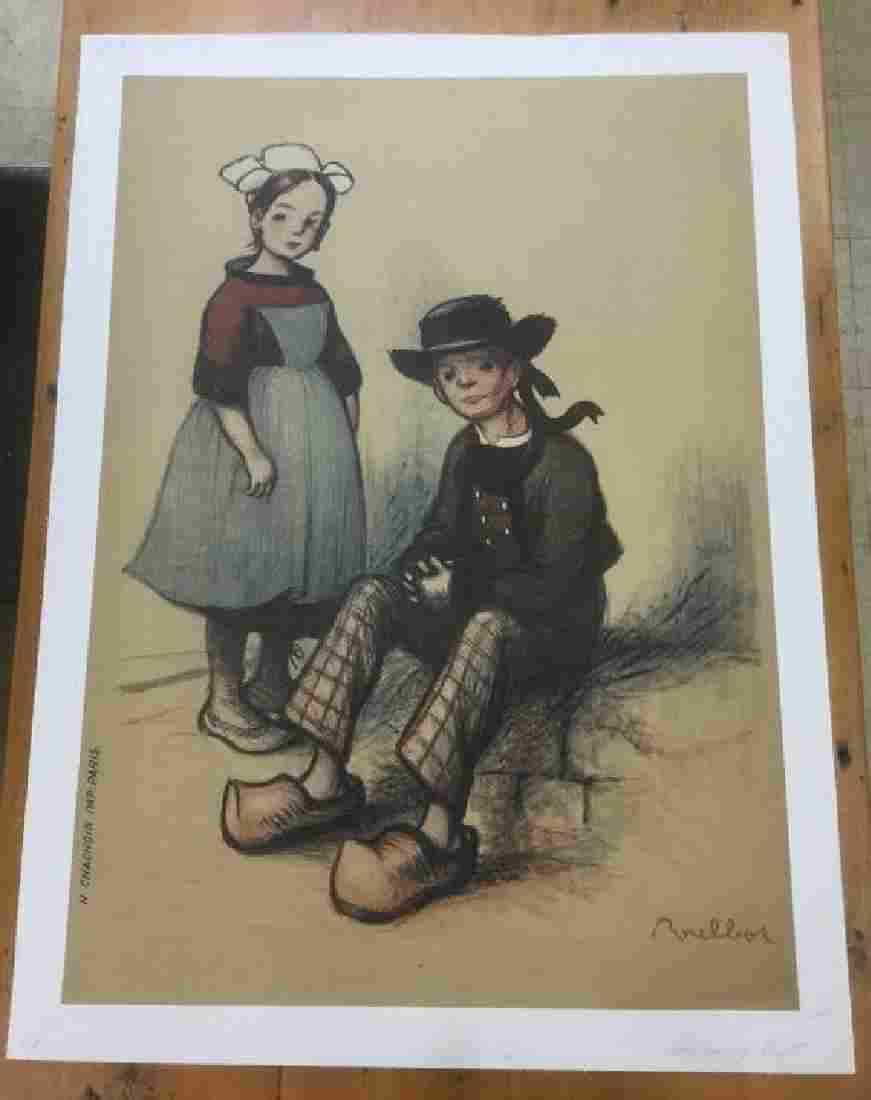 RARE FRENCH PANNEAUX POULBOT POSTER, C. 1915, LINEN