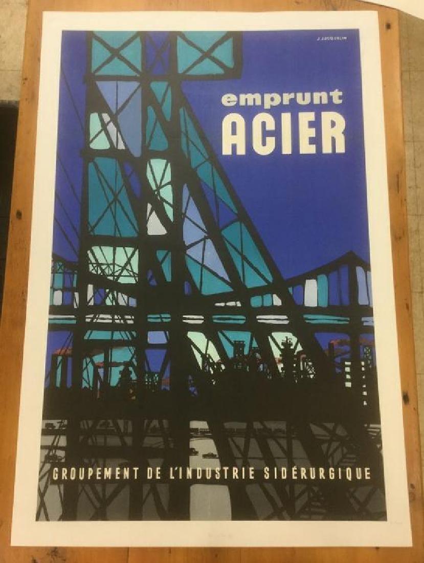 FRENCH POSTER, C. 1960, LINEN BACKED, EMPRUNT ACIER,
