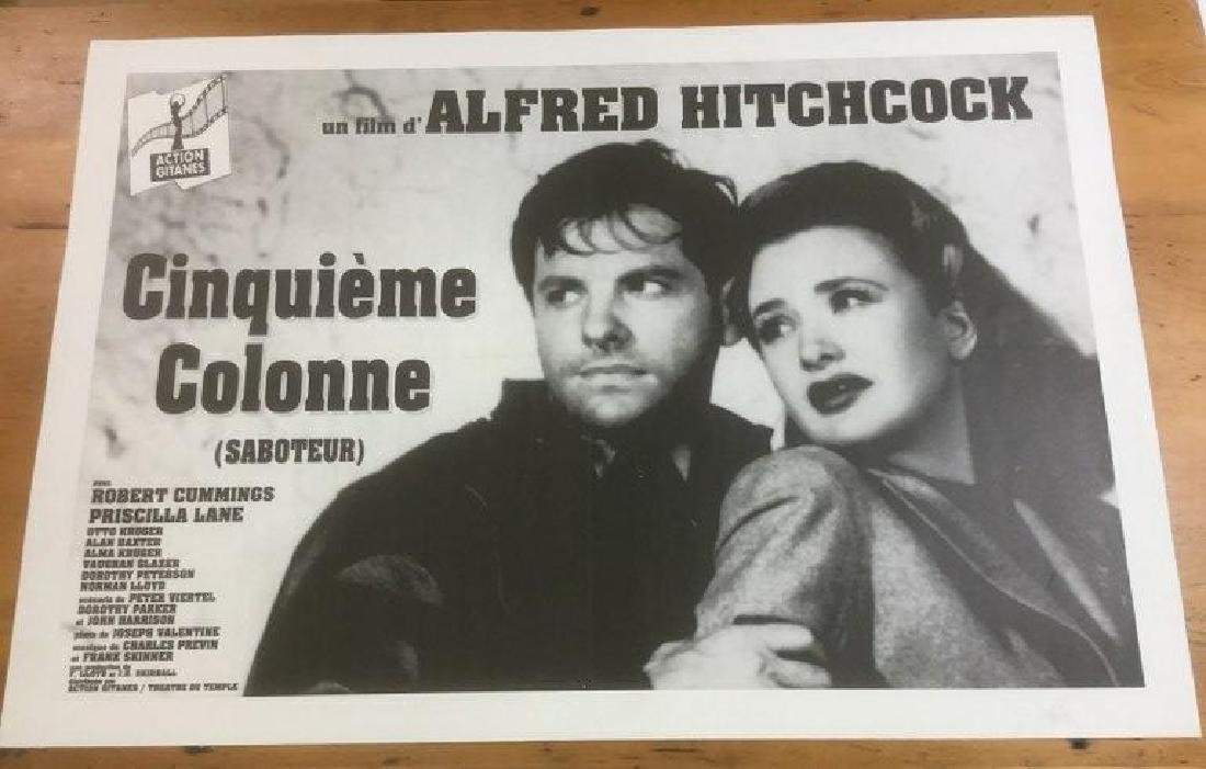 FOREIGN ALFRED HITCHCOCK MOVIE POSTER, LINEN BACKED,