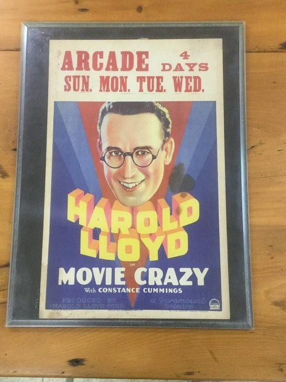 HAROLD LLOYD IN MOVIE CRAZY WINDOW CARD POSTER,