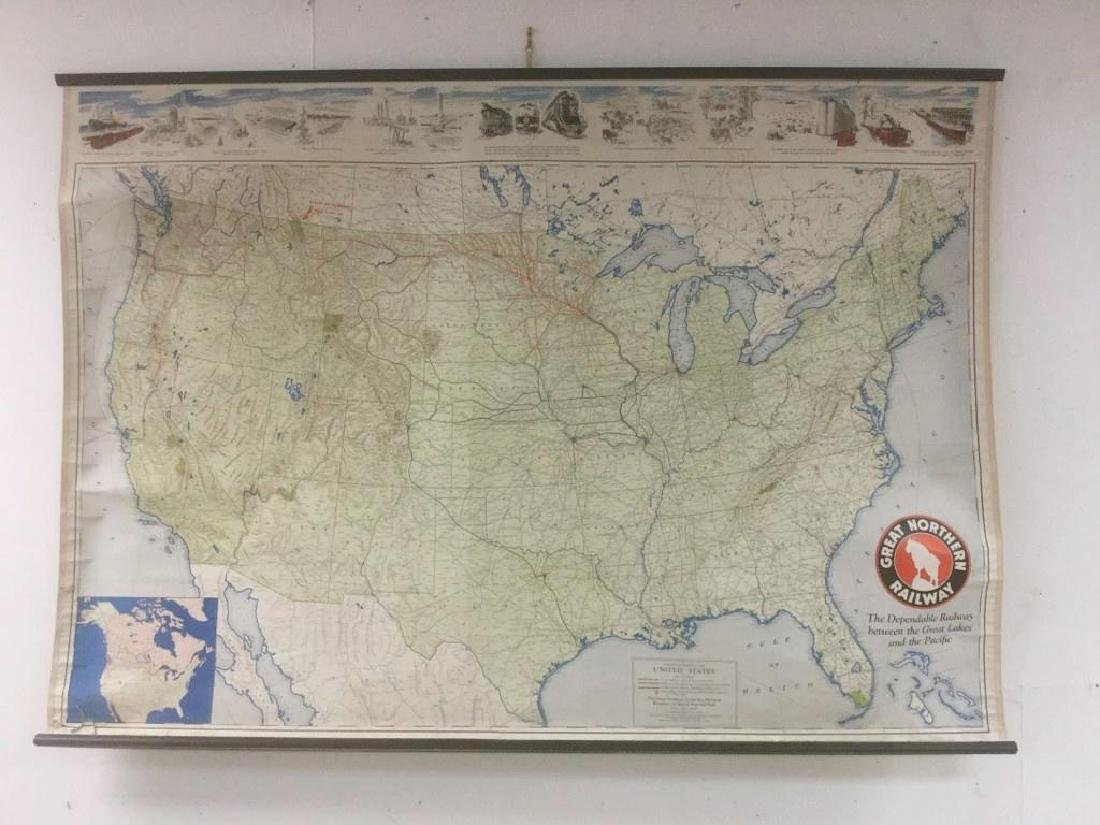 1944 GREAT NORTHERN RAILWAY FOLD DOWN MAP, HAS TEAR IN