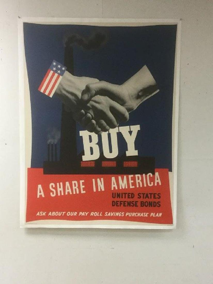 WW II POSTER BUY SHARE IN AMERICA UNITED STATES DEFENSE