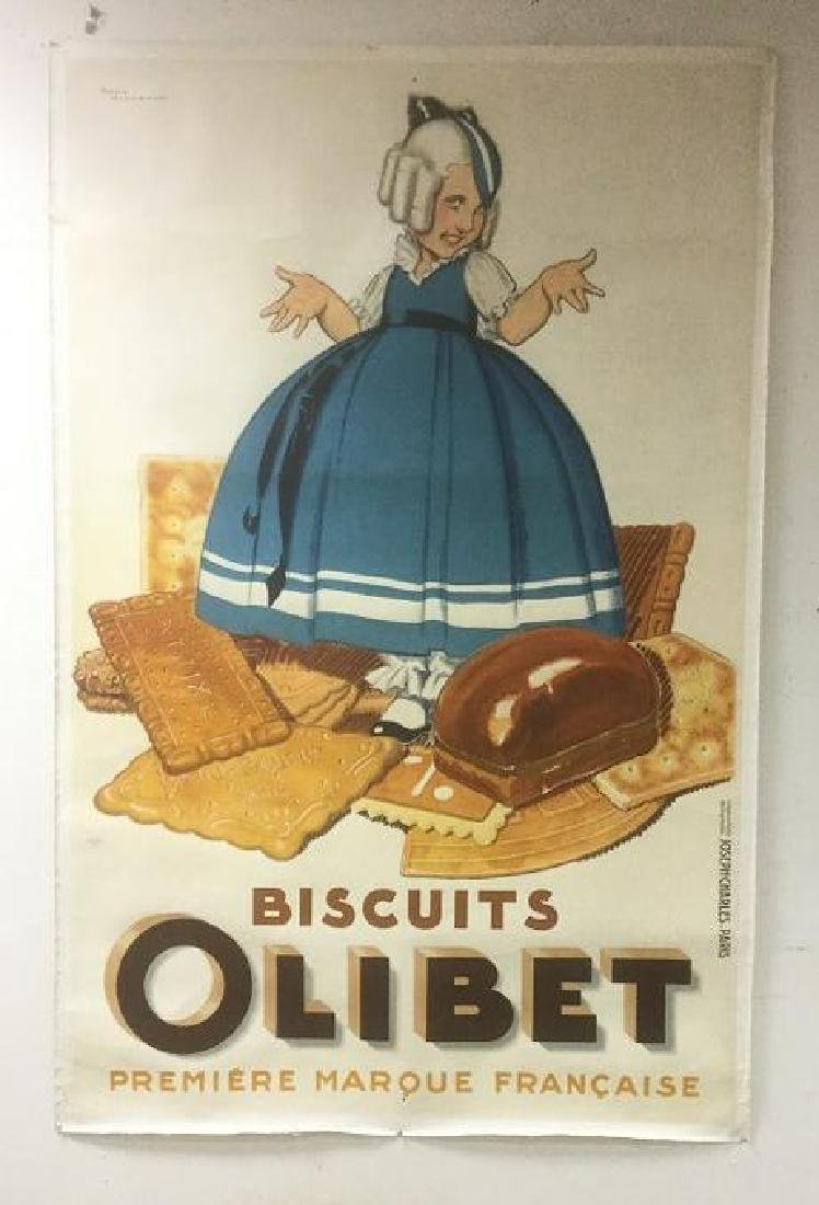 LARGE FRENCH POSTER OLIBET BISCUITS, LINEN BACKED,