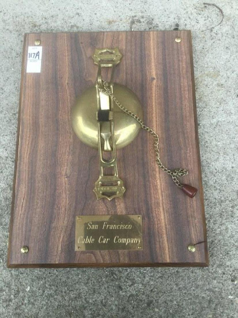 OLD BRASS SAN FRANCISCO CABLE CAR BELL, MARKED SFC CO.