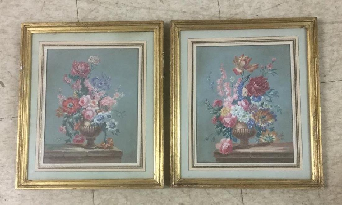 2 GOAUCHE STILL LIFES FLOWERS IN URNS, INITAILED M.D.,