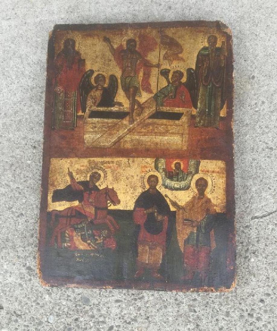 EARLY HAND PAINTED ICON ON OLD WOOD PANEL, MEASURES 18""