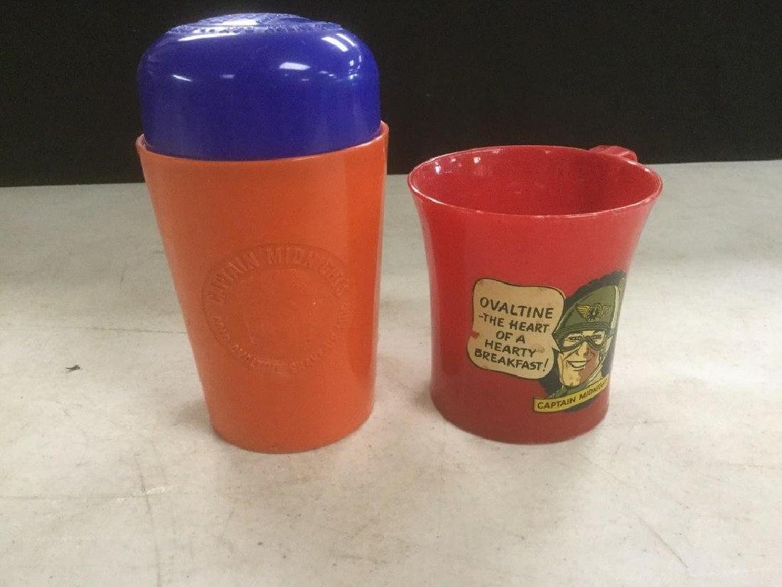 2 VINTAGE CAPTAIN MIDNIGHT PREMIUM CUPS, FROM OVALTINE,
