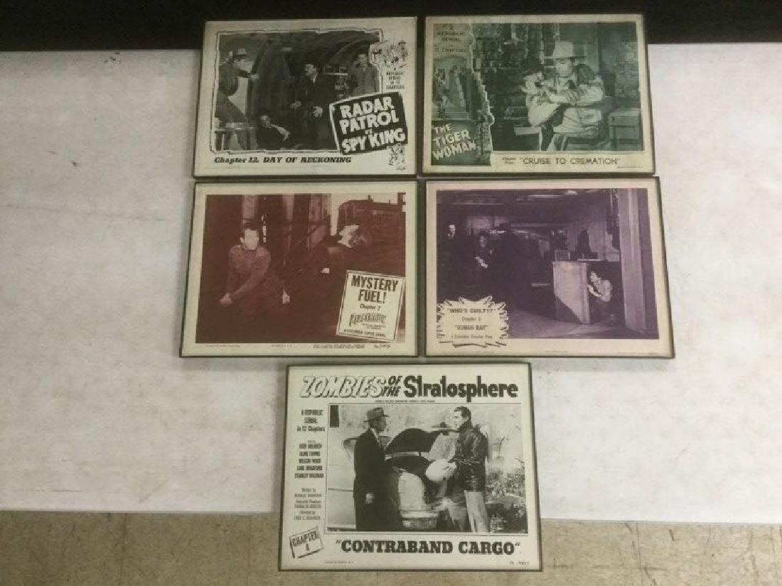 5 FRAMED LOBBY CARDS, 1940'S-50'S, INCLUDING ZOMBIES OF