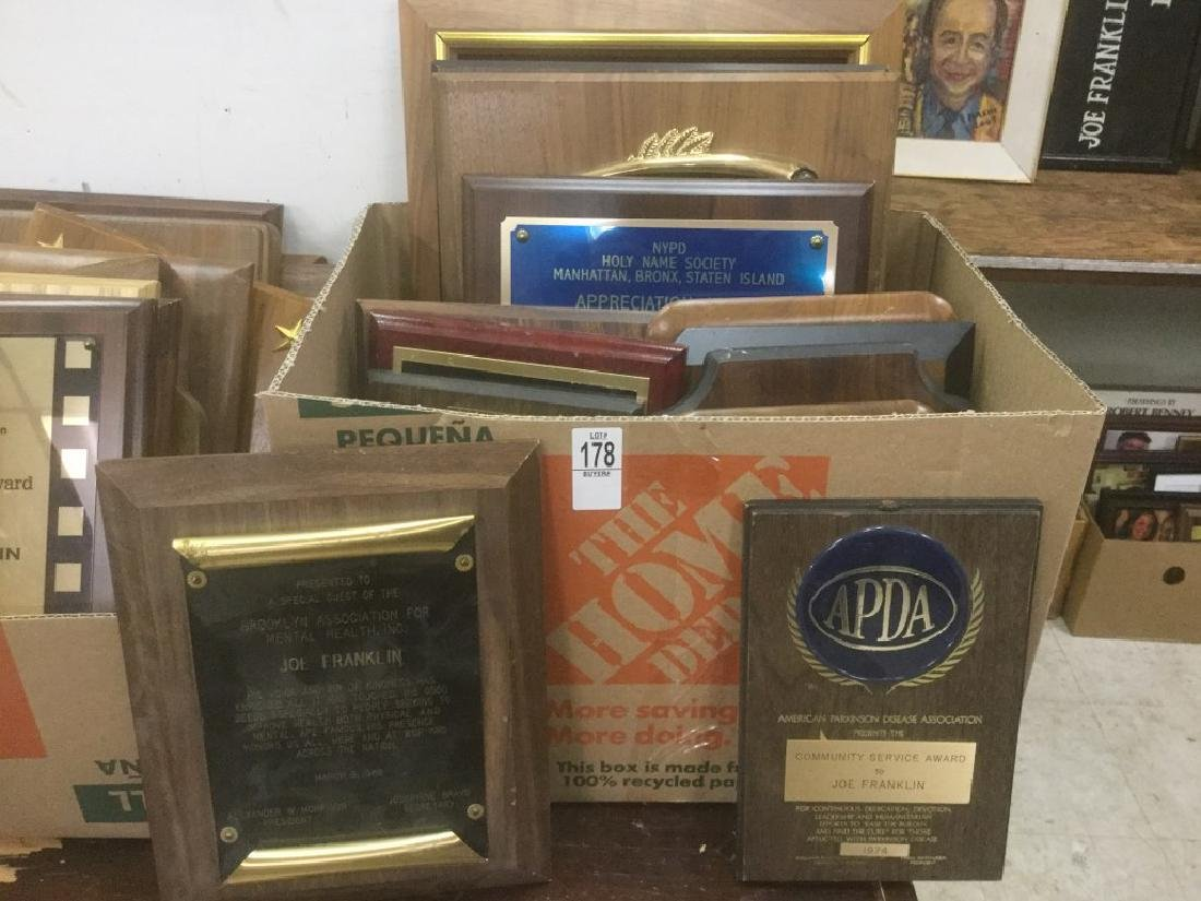 JOE FRANKLIN RADIO HOST ICON- LOT OF 13 PLACQUES AND