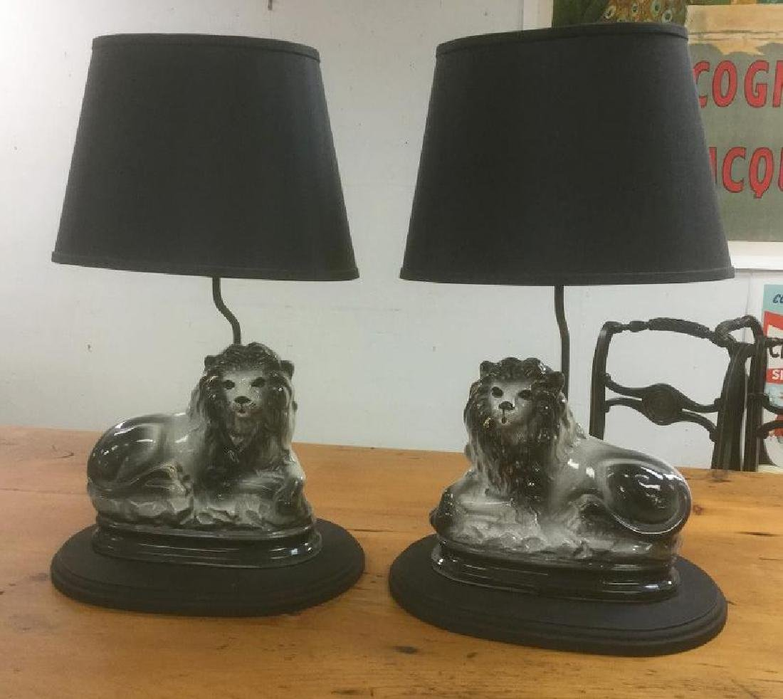 PR. STAFFORDSHIRE BLACK LIONS CUSTOM MADE TABLE LAMPS,
