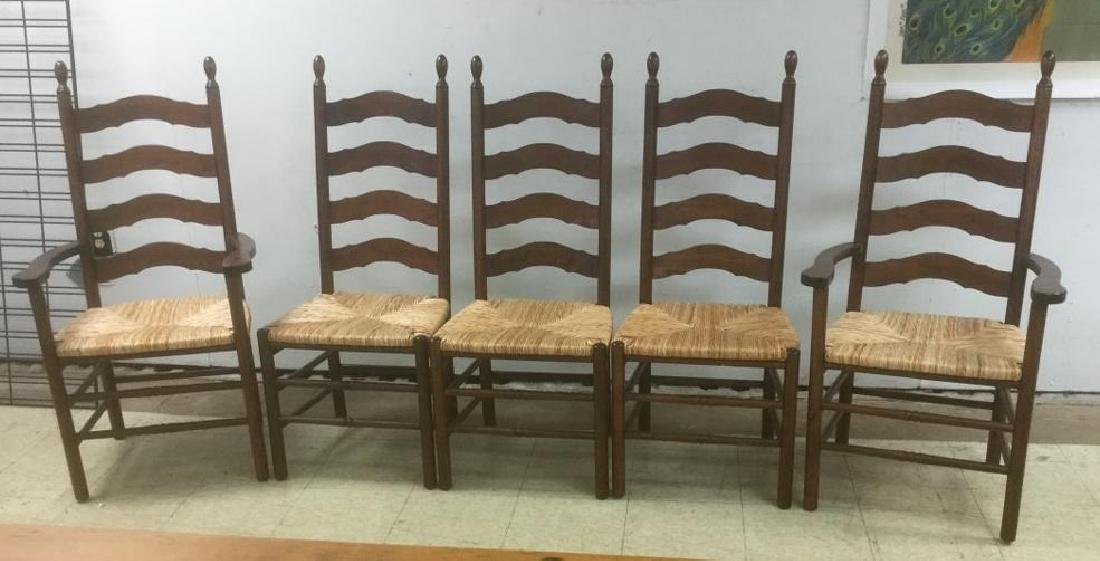 (5) CONTEMPORARY CHERRY LADDERBACK CHAIRS WITH RUSH