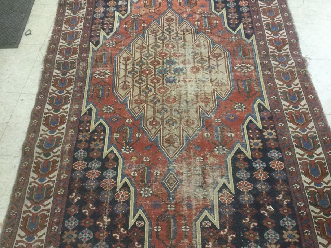 EARLY HANDMADE ORIENTAL RUG, HAS EXTREME WEAR, MEASURES
