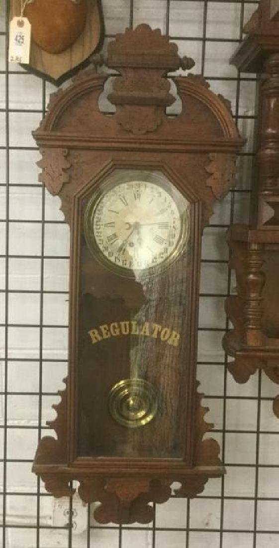 REGULATOR WALNUT WALL CLOCK, ESTATE CONDITION, HAS