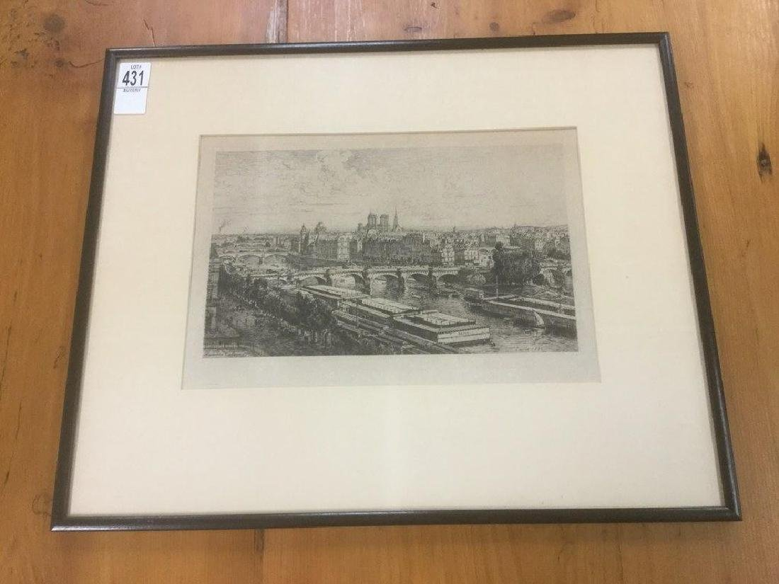 MAXIME LALANNE ETCHING VIEW OF PARIS, GALLERY LABEL ON
