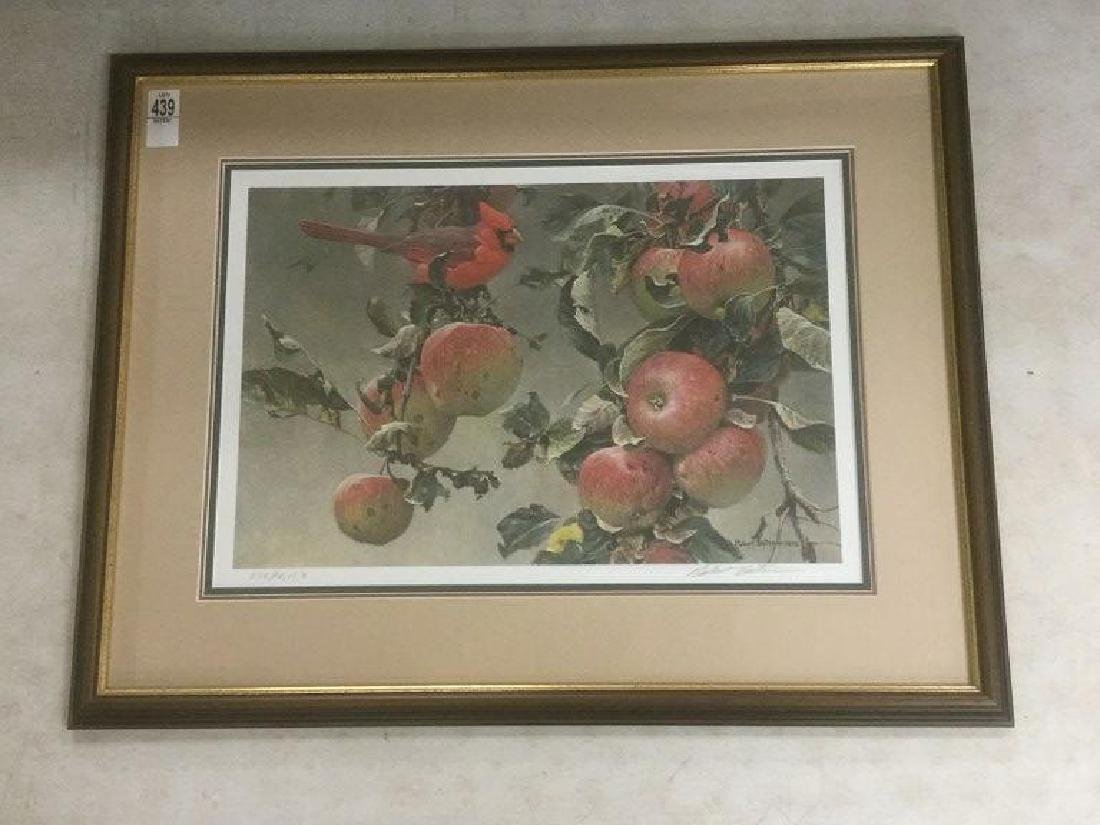 ROBERT BATEMAN SIGNED CARDINAL IN APPLE TREE PRINT,