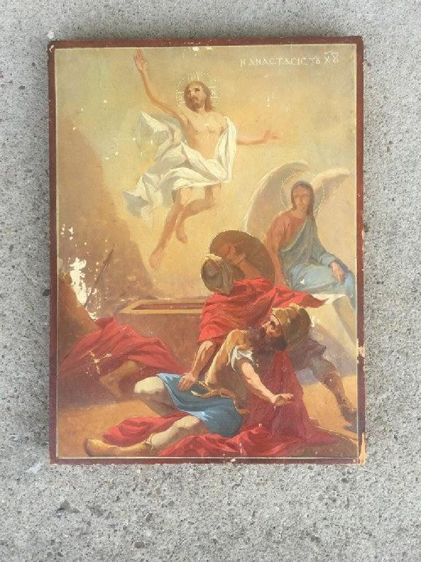 RUSSIAN (?) RELIGIOUS OIL ON WOOD PANEL OF JESUS,
