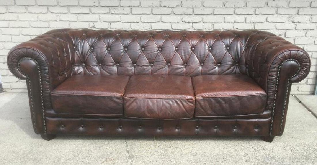 LEATHER CHESTERFIELD SOFA, IN NICE CONDITION, MEASURES
