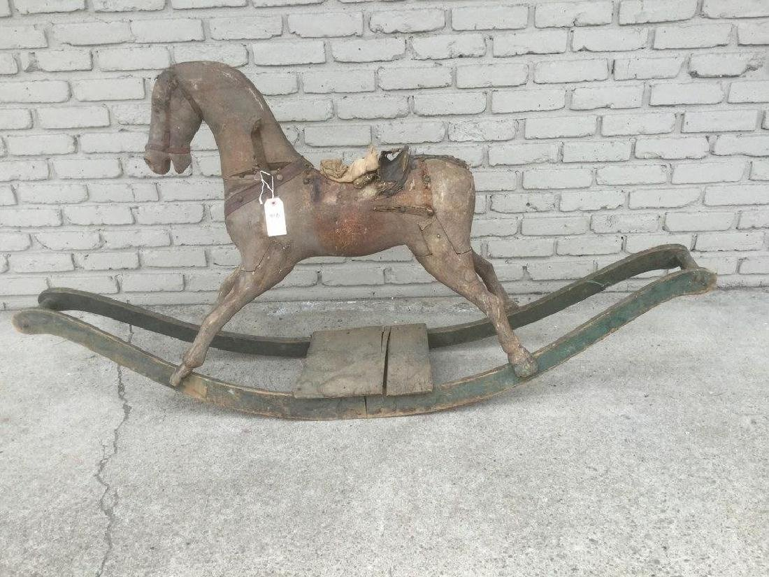 EARLY CRANDALL BROS CARVED ROCKING HORSE ON STAND,