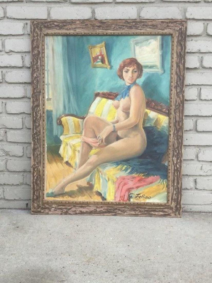 C.1960'S O/C NUDE WOMAN ON SAFA, SIGNED G. FELLINO, IN