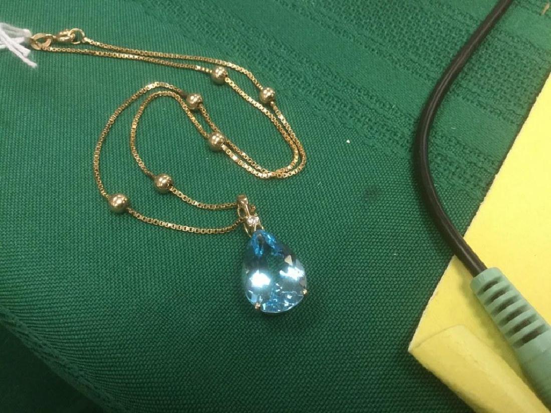 LARGE TEARDROP BLUE TOPAZ W/DIAMOND NECKLACE IN 14K