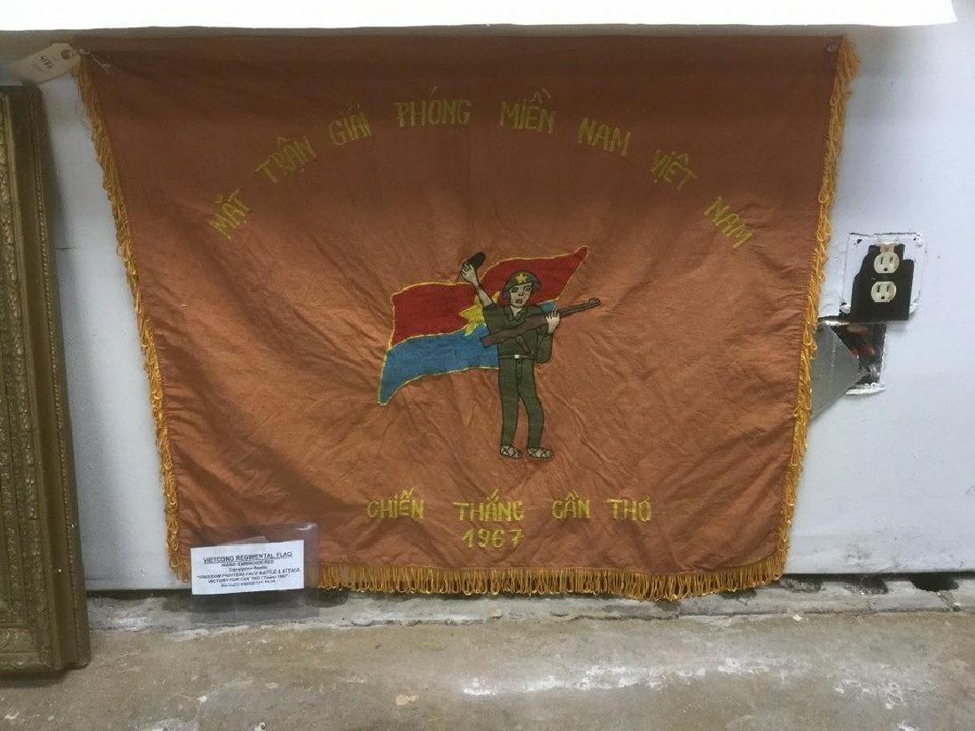 VIETCONG REGIMENTAL FLAG,1967, HAND EMBROIDERED, READS-