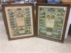 2 EARLY ODDFELLOWS FRAMED CERTIFICATES IN FRAMES OF