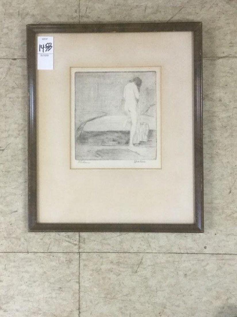 LEON LOUIE DOLICE NUDE WOMAN ETCHING BY BED TITLE HELEN